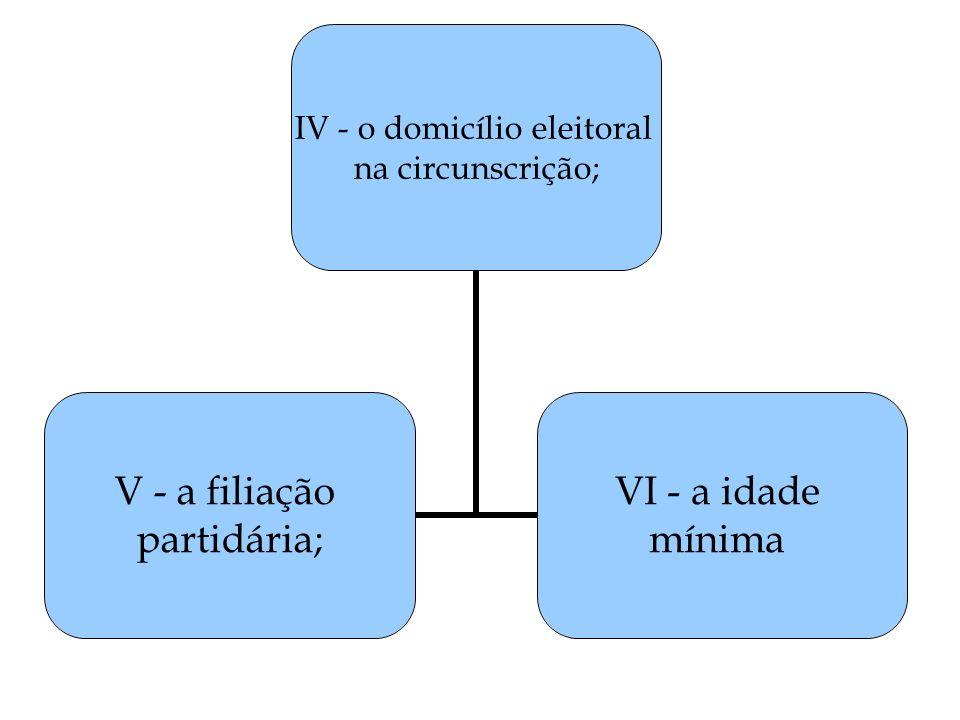 IV - o domicílio eleitoral na circunscrição; V - a filiação partidária; VI - a idade mínima