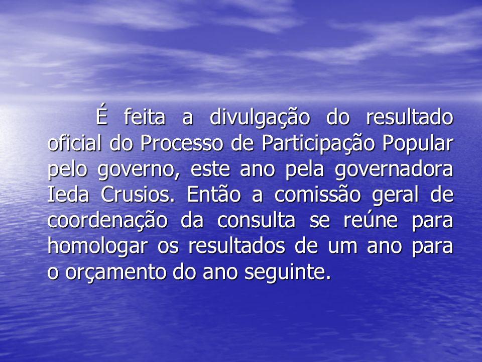 É feita a divulgação do resultado oficial do Processo de Participação Popular pelo governo, este ano pela governadora Ieda Crusios. Então a comissão g