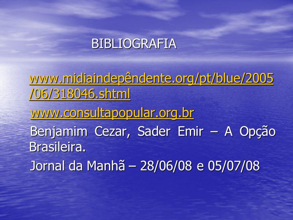 BIBLIOGRAFIA BIBLIOGRAFIA www.midiaindepêndente.org/pt/blue/2005 /06/318046.shtml www.midiaindepêndente.org/pt/blue/2005 /06/318046.shtml www.midiaind