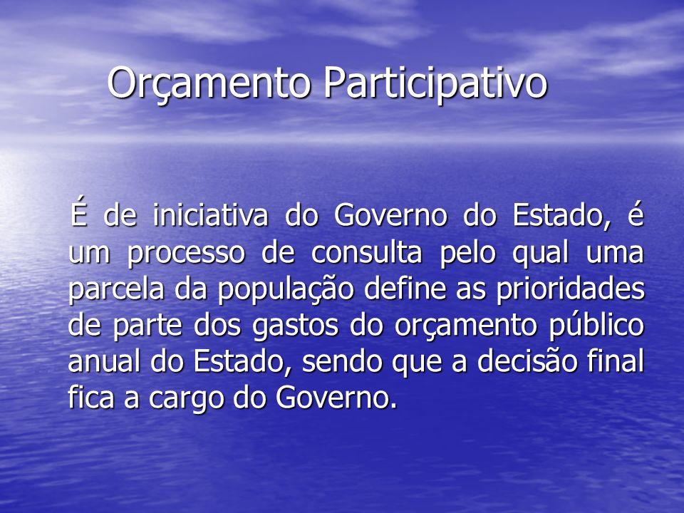 Orçamento Participativo Orçamento Participativo É de iniciativa do Governo do Estado, é um processo de consulta pelo qual uma parcela da população def