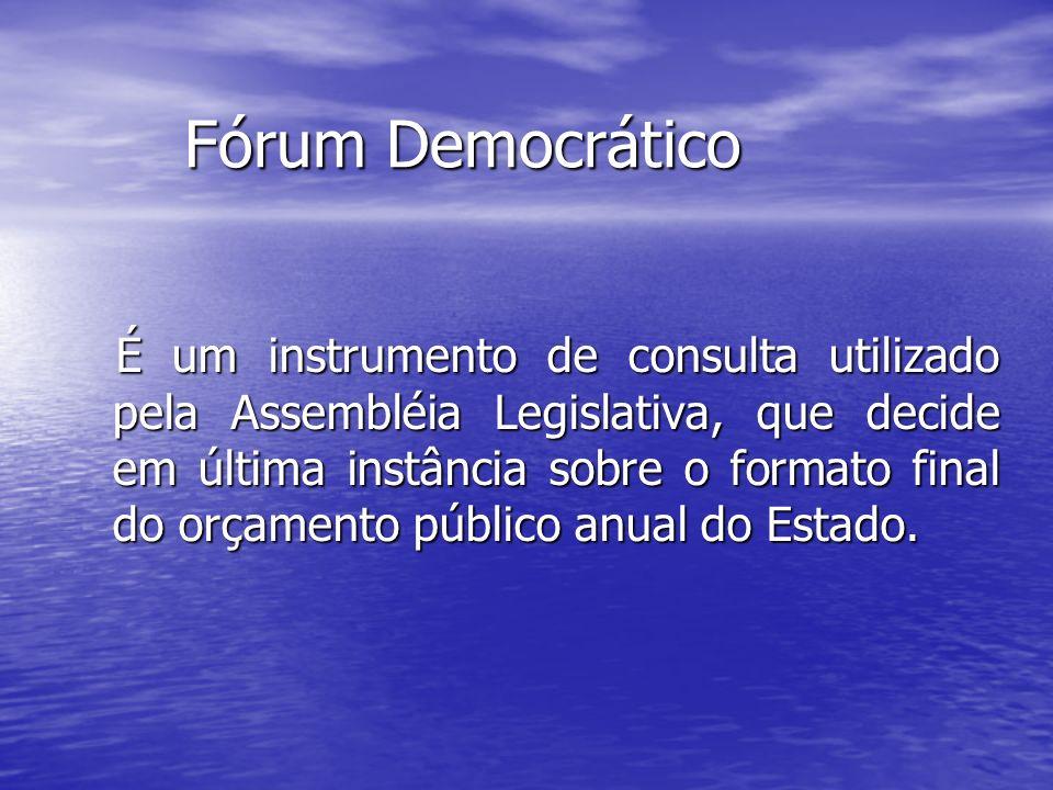 Fórum Democrático Fórum Democrático É um instrumento de consulta utilizado pela Assembléia Legislativa, que decide em última instância sobre o formato