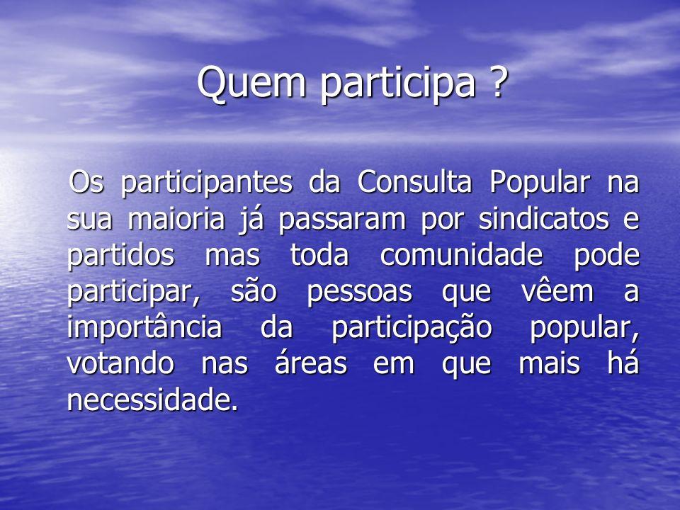 Quem participa ? Quem participa ? Os participantes da Consulta Popular na sua maioria já passaram por sindicatos e partidos mas toda comunidade pode p