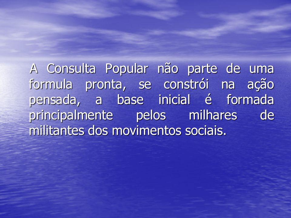 A Consulta Popular não parte de uma formula pronta, se constrói na ação pensada, a base inicial é formada principalmente pelos milhares de militantes