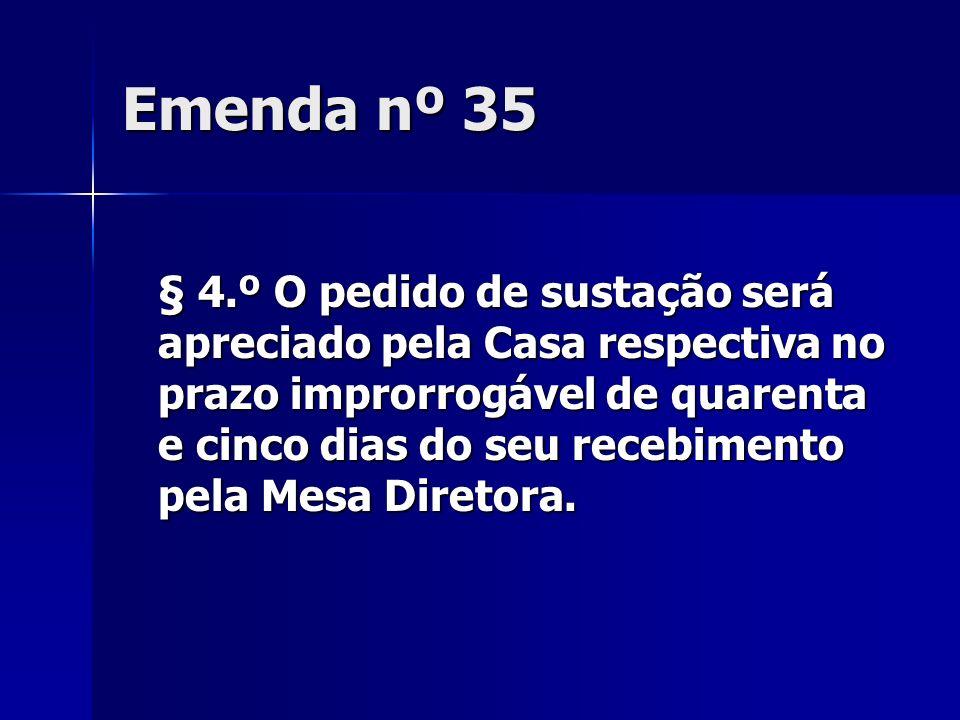 Emenda nº 35 § 4.º O pedido de sustação será apreciado pela Casa respectiva no prazo improrrogável de quarenta e cinco dias do seu recebimento pela Me