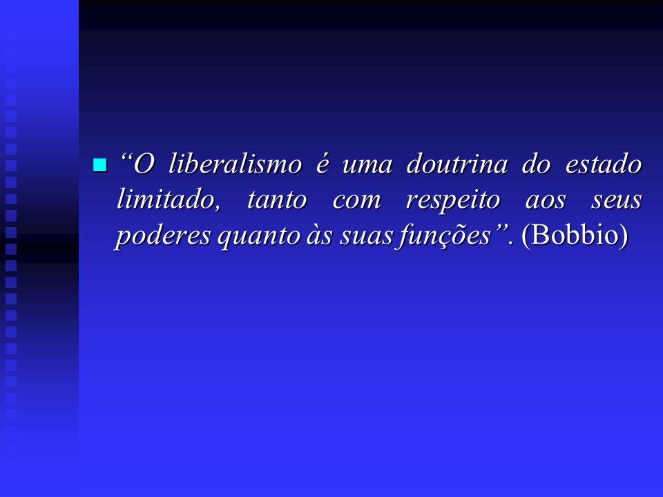 O liberalismo é uma doutrina do estado limitado, tanto com respeito aos seus poderes quanto às suas funções. (Bobbio) O liberalismo é uma doutrina do