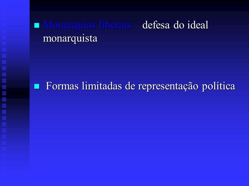 Monarquias liberais defesa do ideal monarquista Formas limitadas de representação política