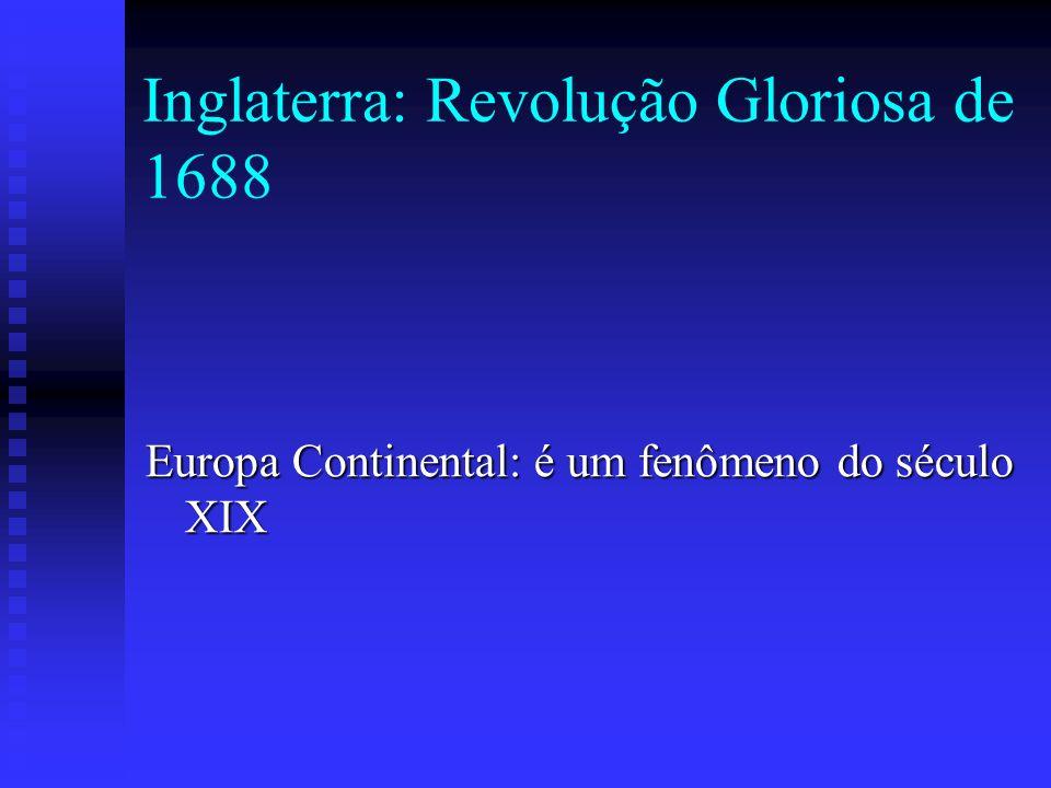 Inglaterra: Revolução Gloriosa de 1688 Europa Continental: é um fenômeno do século XIX