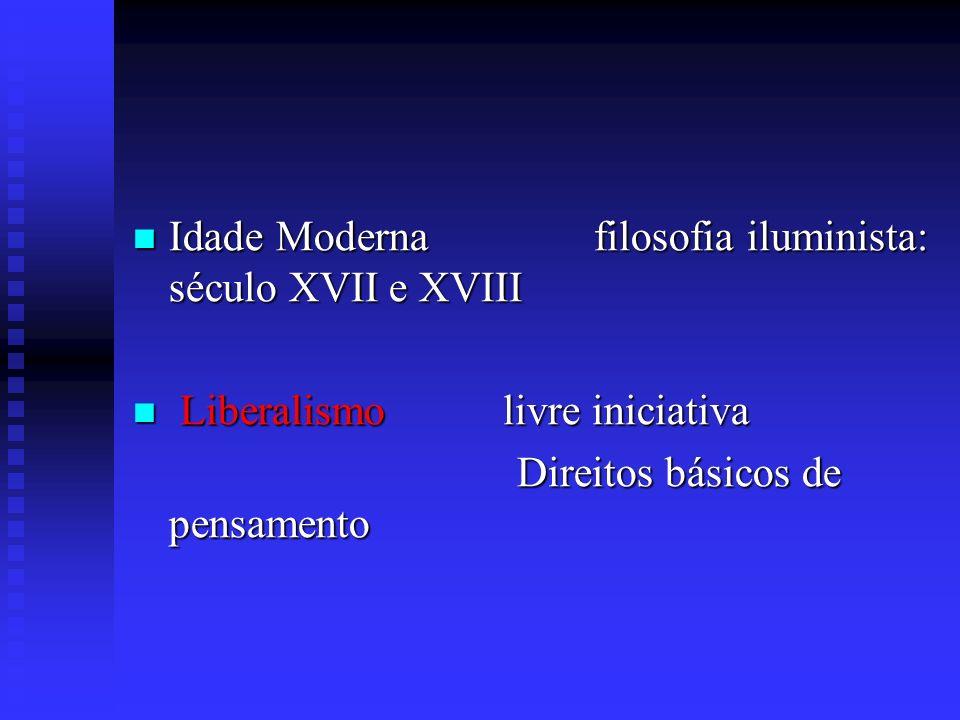 Idade Idade Moderna filosofia iluminista: século XVII e XVIII Liberalismo Liberalismo livre iniciativa Direitos básicos de pensamento