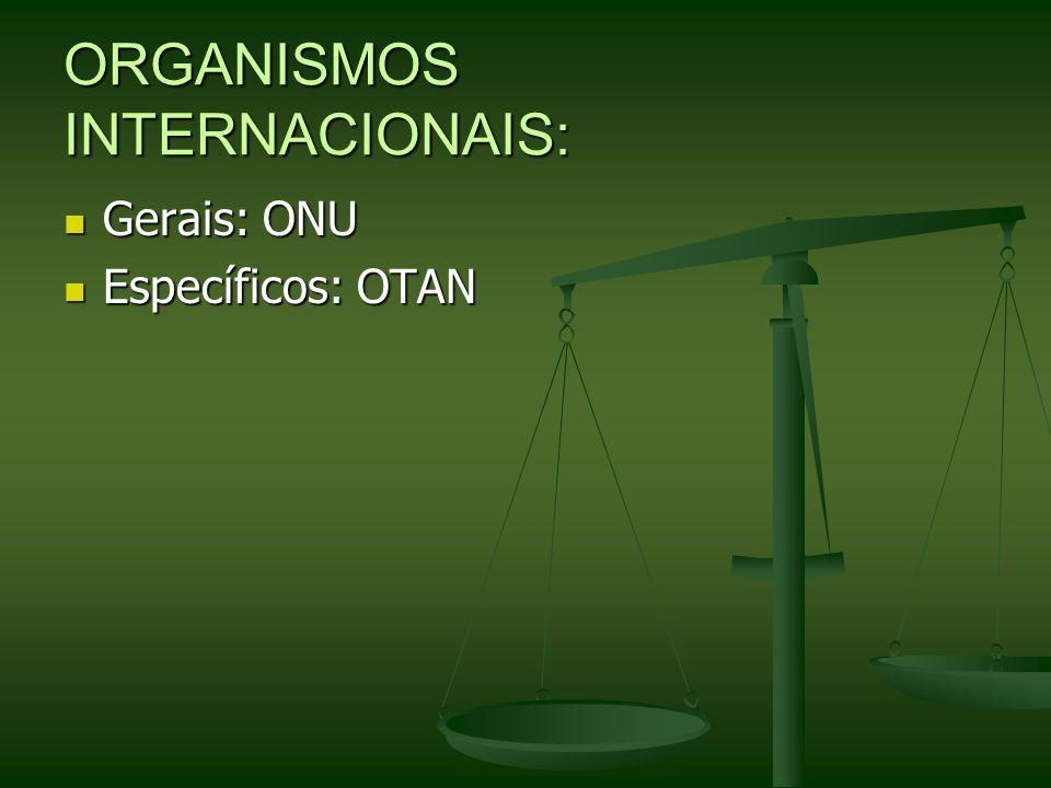 ORGANISMOS INTERNACIONAIS: Gerais: ONU Gerais: ONU Específicos: OTAN Específicos: OTAN
