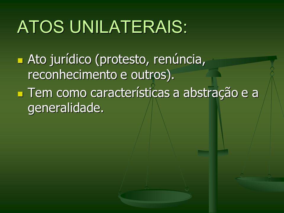 ATOS UNILATERAIS: Ato jurídico (protesto, renúncia, reconhecimento e outros). Ato jurídico (protesto, renúncia, reconhecimento e outros). Tem como car