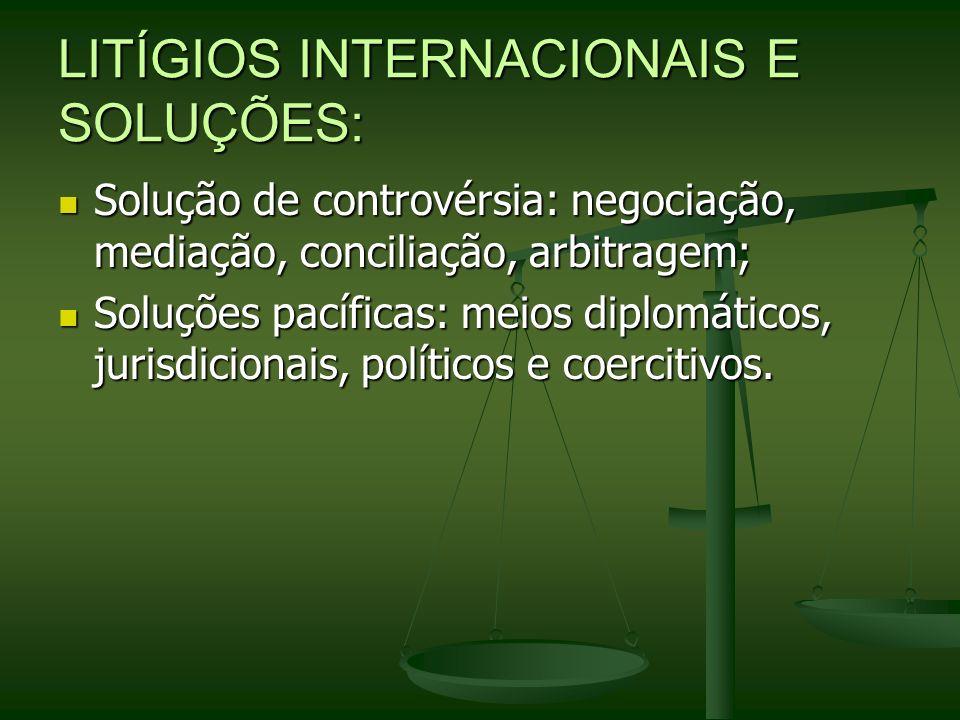 LITÍGIOS INTERNACIONAIS E SOLUÇÕES: Solução de controvérsia: negociação, mediação, conciliação, arbitragem; Solução de controvérsia: negociação, media