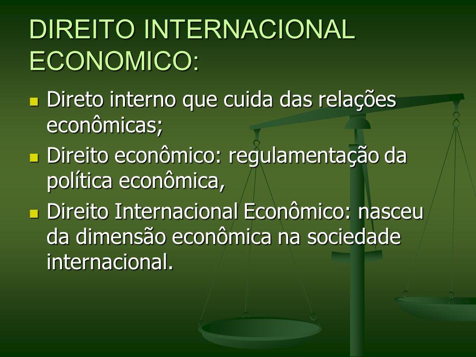 DIREITO INTERNACIONAL ECONOMICO: Direto interno que cuida das relações econômicas; Direto interno que cuida das relações econômicas; Direito econômico