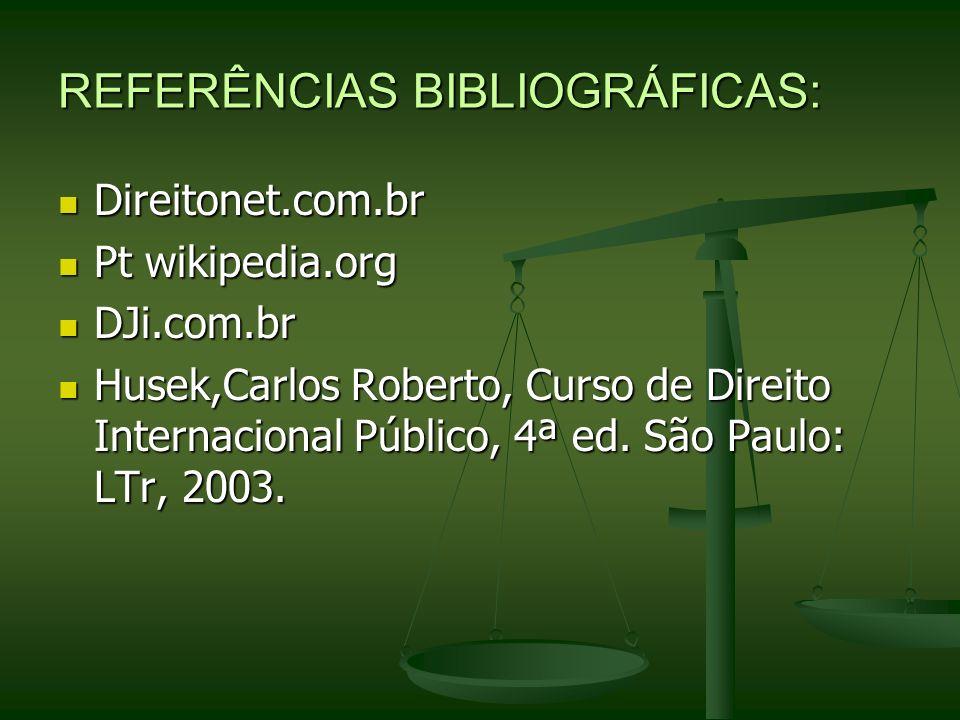 REFERÊNCIAS BIBLIOGRÁFICAS: Direitonet.com.br Direitonet.com.br Pt wikipedia.org Pt wikipedia.org DJi.com.br DJi.com.br Husek,Carlos Roberto, Curso de