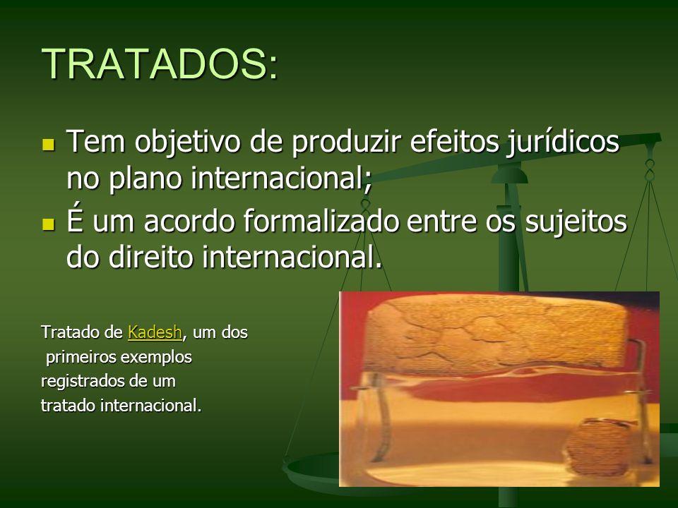 TRATADOS: Tem objetivo de produzir efeitos jurídicos no plano internacional; Tem objetivo de produzir efeitos jurídicos no plano internacional; É um a
