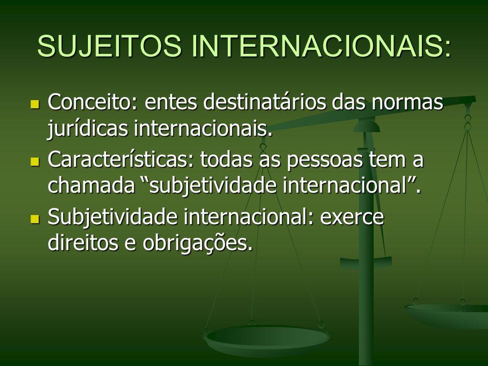 SUJEITOS INTERNACIONAIS: Conceito: entes destinatários das normas jurídicas internacionais. Conceito: entes destinatários das normas jurídicas interna