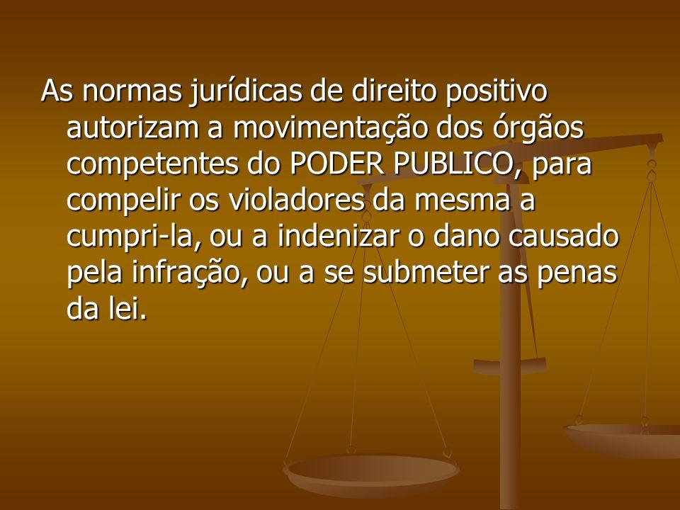 As normas jurídicas de direito positivo autorizam a movimentação dos órgãos competentes do PODER PUBLICO, para compelir os violadores da mesma a cumpr