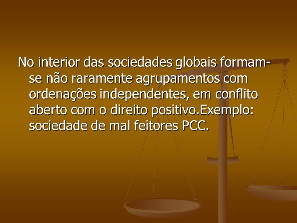 No interior das sociedades globais formam- se não raramente agrupamentos com ordenações independentes, em conflito aberto com o direito positivo.Exemp