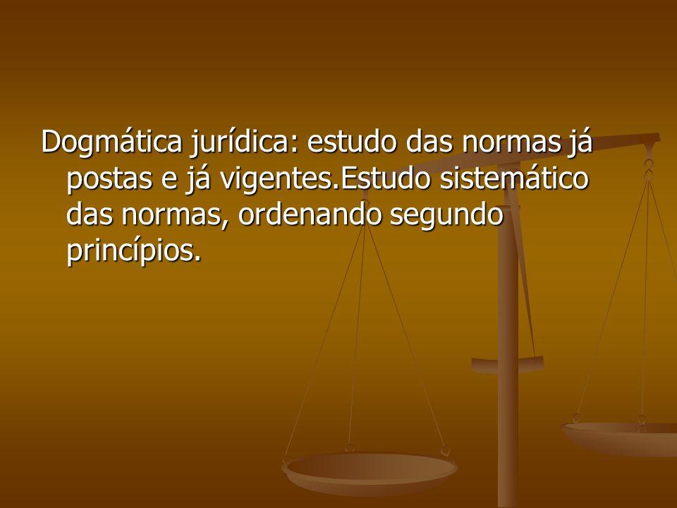 Dogmática jurídica: estudo das normas já postas e já vigentes.Estudo sistemático das normas, ordenando segundo princípios.