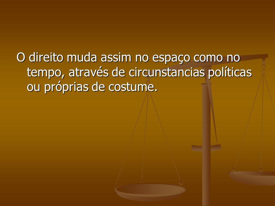 O direito muda assim no espaço como no tempo, através de circunstancias políticas ou próprias de costume.