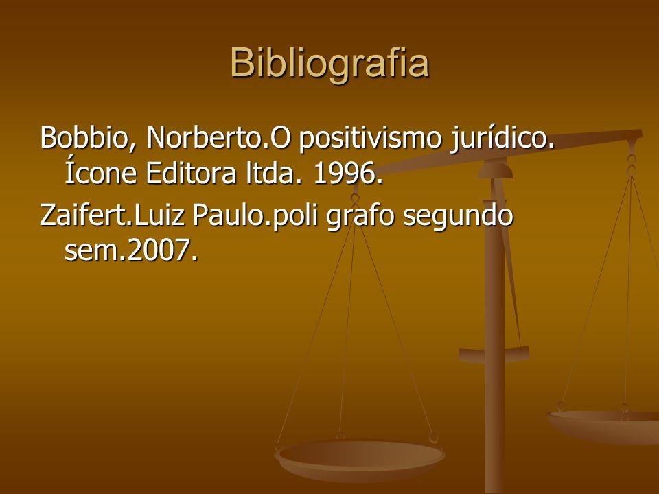 Bibliografia Bobbio, Norberto.O positivismo jurídico. Ícone Editora ltda. 1996. Zaifert.Luiz Paulo.poli grafo segundo sem.2007.