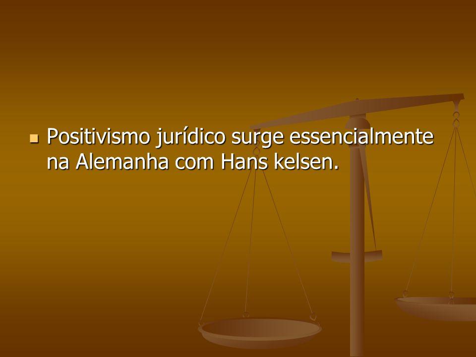 Positivismo jurídico surge essencialmente na Alemanha com Hans kelsen. Positivismo jurídico surge essencialmente na Alemanha com Hans kelsen.