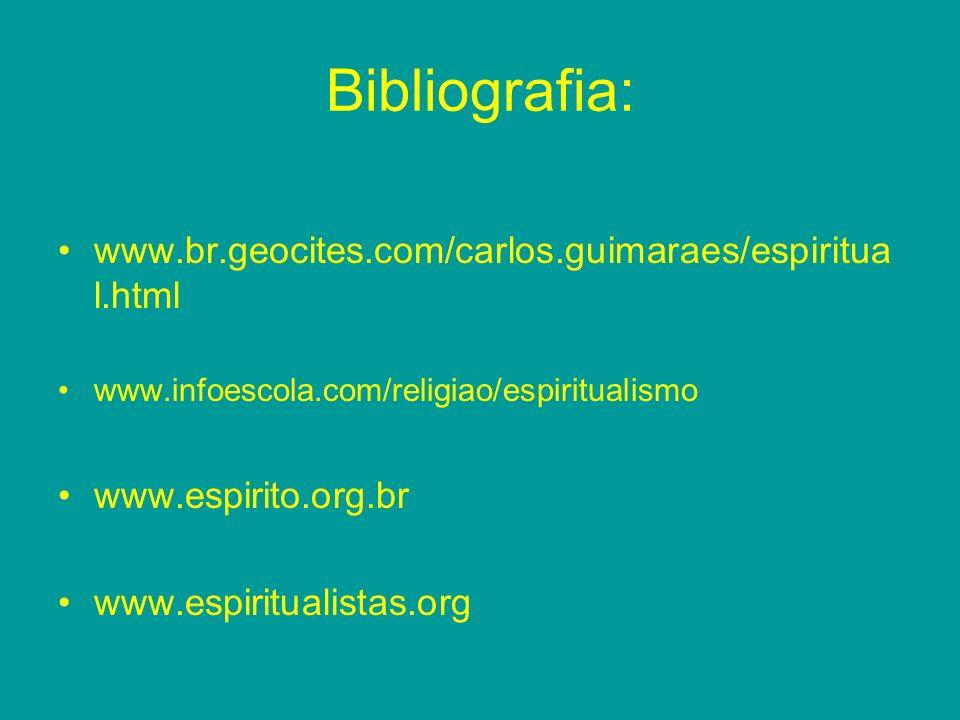 Bibliografia: www.br.geocites.com/carlos.guimaraes/espiritua l.html www.infoescola.com/religiao/espiritualismo www.espirito.org.br www.espiritualistas