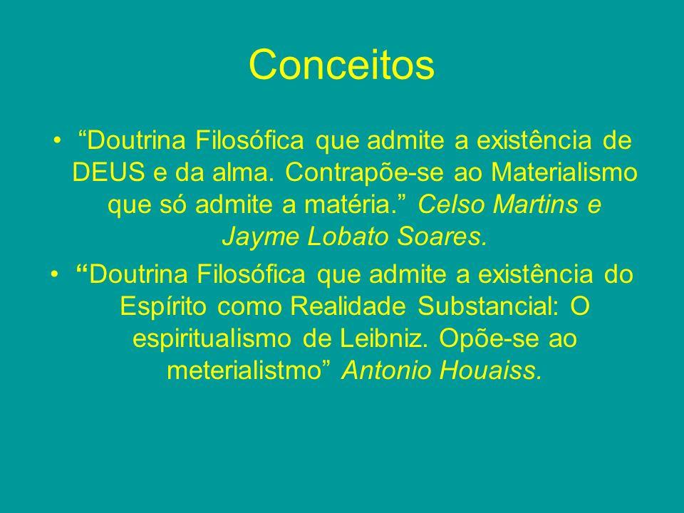 Conceitos Doutrina Filosófica que admite a existência de DEUS e da alma. Contrapõe-se ao Materialismo que só admite a matéria. Celso Martins e Jayme L