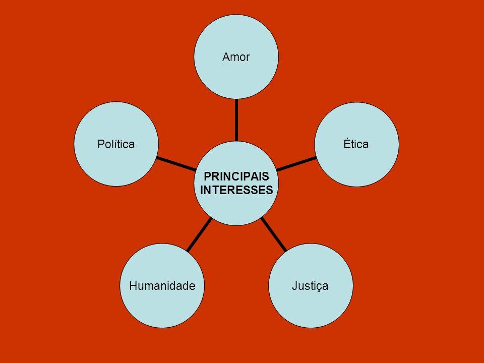 PRINCIPAIS INTERESSES AmorÉticaJustiçaHumanidadePolítica