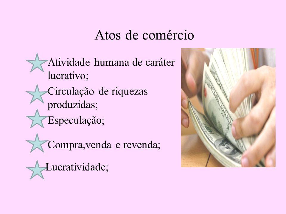 Atos de comércio Atividade humana de caráter lucrativo; Circulação de riquezas produzidas; Especulação; Compra,venda e revenda; Lucratividade;