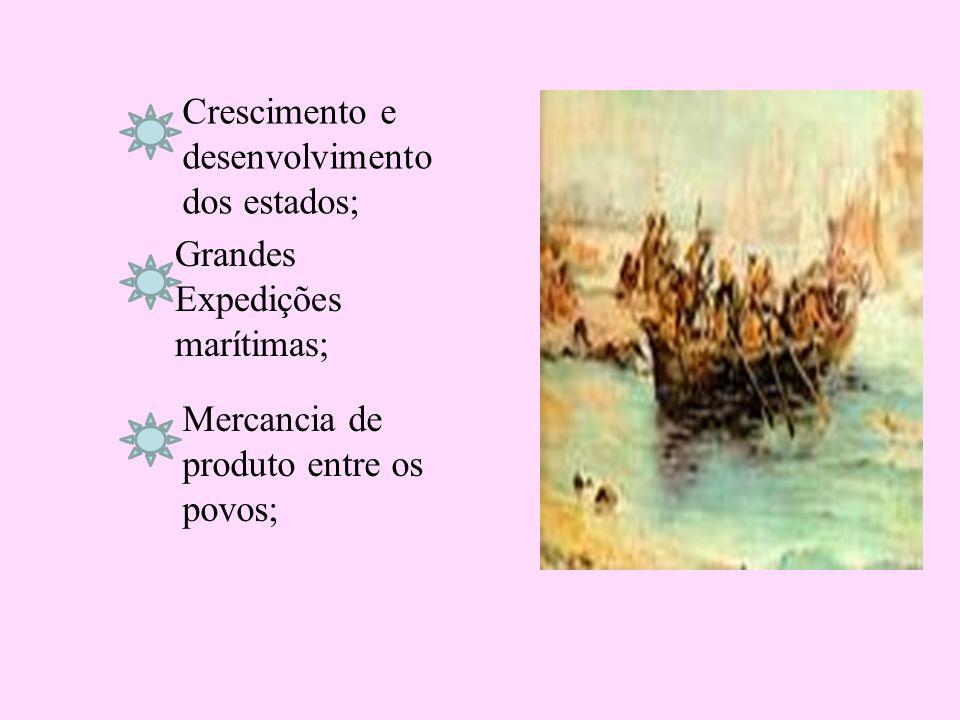 Mercancia de produto entre os povos; Grandes Expedições marítimas; Crescimento e desenvolvimento dos estados;