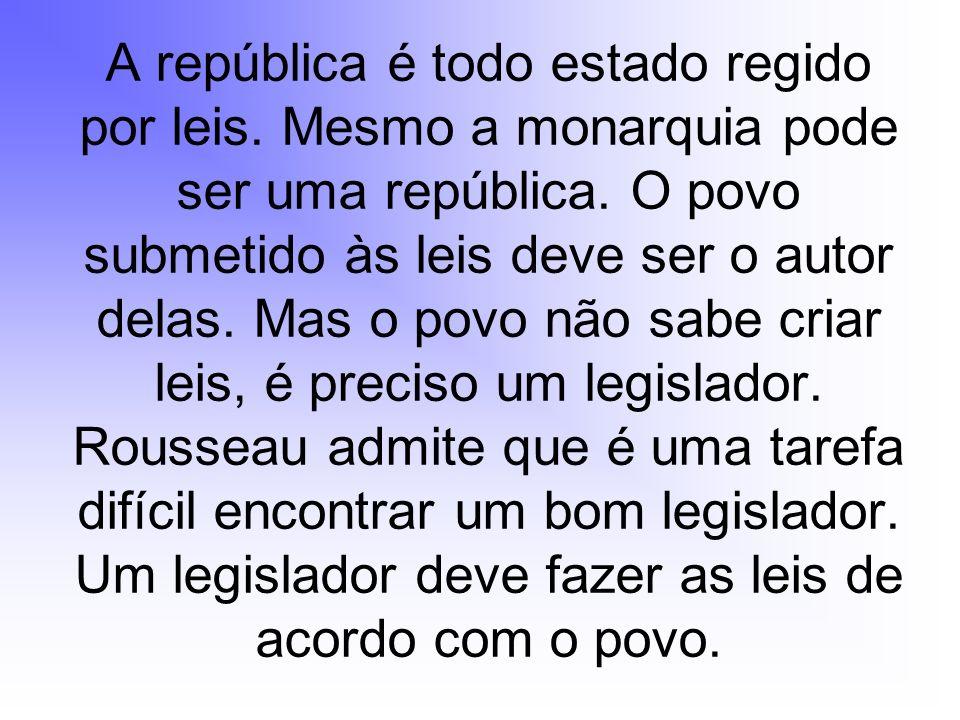 A república é todo estado regido por leis. Mesmo a monarquia pode ser uma república. O povo submetido às leis deve ser o autor delas. Mas o povo não s