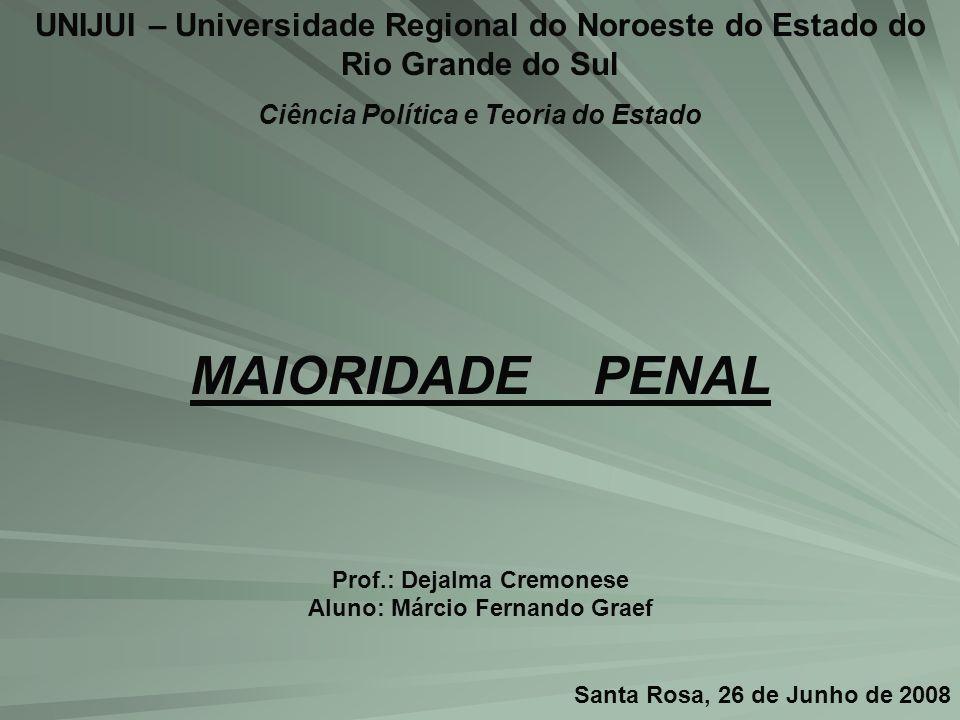 UNIJUI – Universidade Regional do Noroeste do Estado do Rio Grande do Sul Ciência Política e Teoria do Estado MAIORIDADE PENAL Prof.: Dejalma Cremones