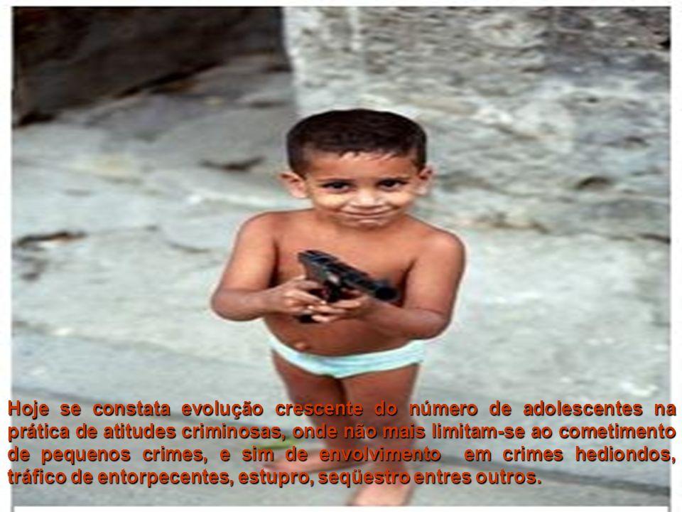 Hoje se constata evolução crescente do número de adolescentes na prática de atitudes criminosas, onde não mais limitam-se ao cometimento de pequenos c