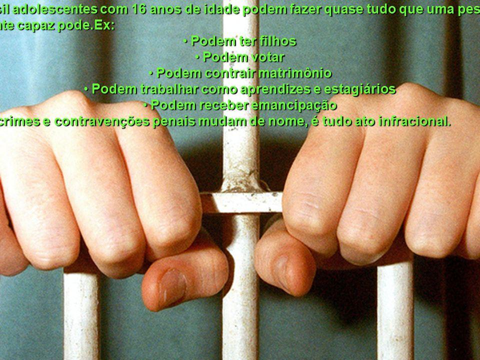REFERENCIAS: http://pfdc.pgr.mpf.gov.br/clipping/marco-2007/os-pros-e-os-contras-da-maioridade- penal http://pfdc.pgr.mpf.gov.br/clipping/marco-2007/os-pros-e-os-contras-da-maioridade- penal http://jus2.uol.com.br/doutrina/texto.asp?id=3374 http://campus.fortunecity.com/clemson/493/jus/m06-008.htm http://pt.wikipedia.org/wiki/Maioridade_penal http://veja.abril.com.br/idade/exclusivo/perguntas_respostas/maioridade_penal/inde x.shtml http://veja.abril.com.br/idade/exclusivo/perguntas_respostas/maioridade_penal/inde x.shtmlhttp://www.maioridadepenal.com.br/http://kplus.cosmo.com.br/materia.asp?co=176&rv=Direito