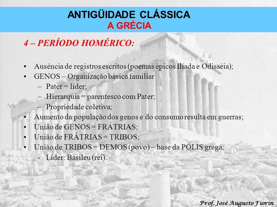 ANTIGÜIDADE CLÁSSICA Prof. José Augusto Fiorin A GRÉCIA 4 – PERÍODO HOMÉRICO: Ausência de registros escritos (poemas épicos Ilíada e Odisséia); GENOS