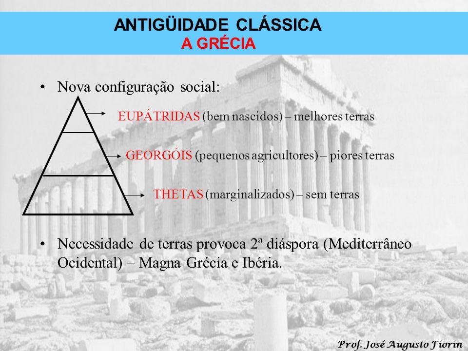 ANTIGÜIDADE CLÁSSICA Prof. José Augusto Fiorin A GRÉCIA Nova configuração social: Necessidade de terras provoca 2ª diáspora (Mediterrâneo Ocidental) –
