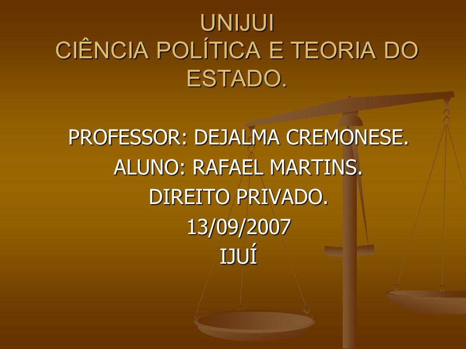 UNIJUI CIÊNCIA POLÍTICA E TEORIA DO ESTADO. PROFESSOR: DEJALMA CREMONESE.