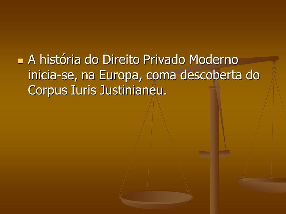 A história do Direito Privado Moderno inicia-se, na Europa, coma descoberta do Corpus Iuris Justinianeu.