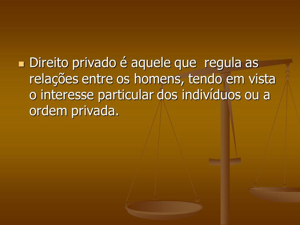 Direito privado é aquele que regula as relações entre os homens, tendo em vista o interesse particular dos indivíduos ou a ordem privada.