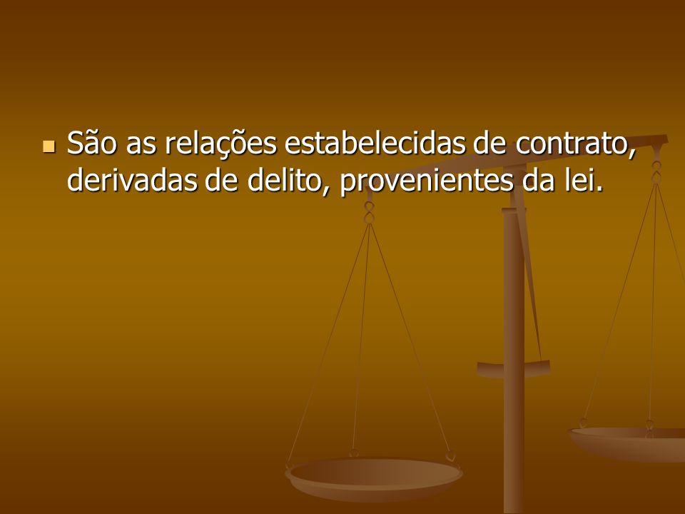 São as relações estabelecidas de contrato, derivadas de delito, provenientes da lei.