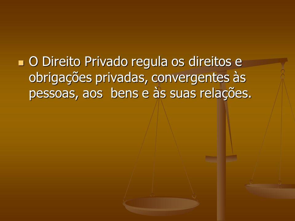 O Direito Privado regula os direitos e obrigações privadas, convergentes às pessoas, aos bens e às suas relações.