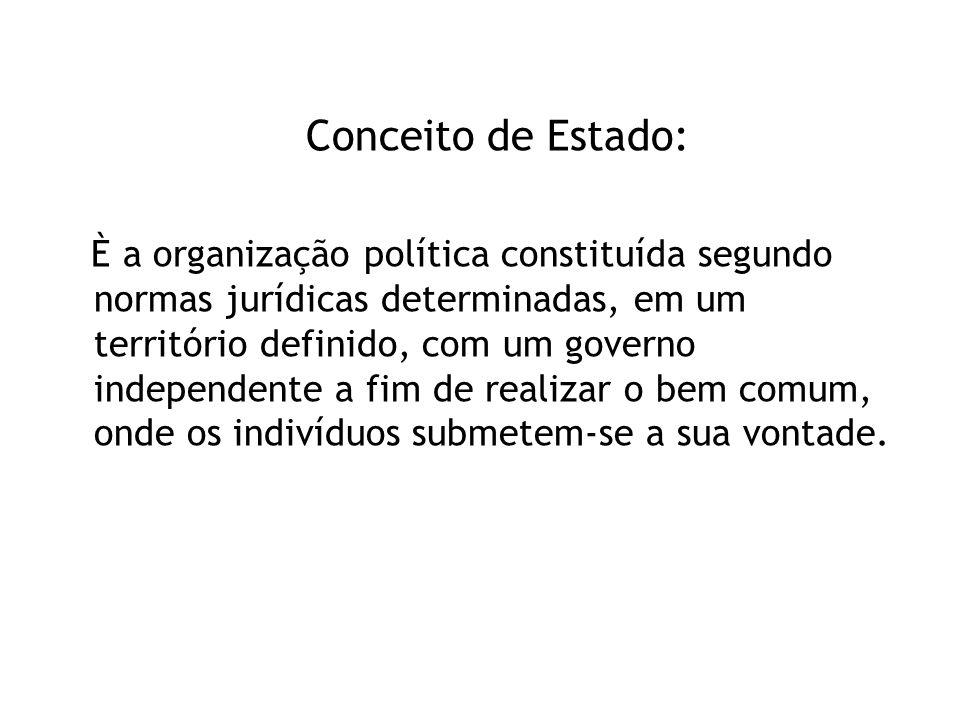 Conceito de Estado: È a organização política constituída segundo normas jurídicas determinadas, em um território definido, com um governo independente