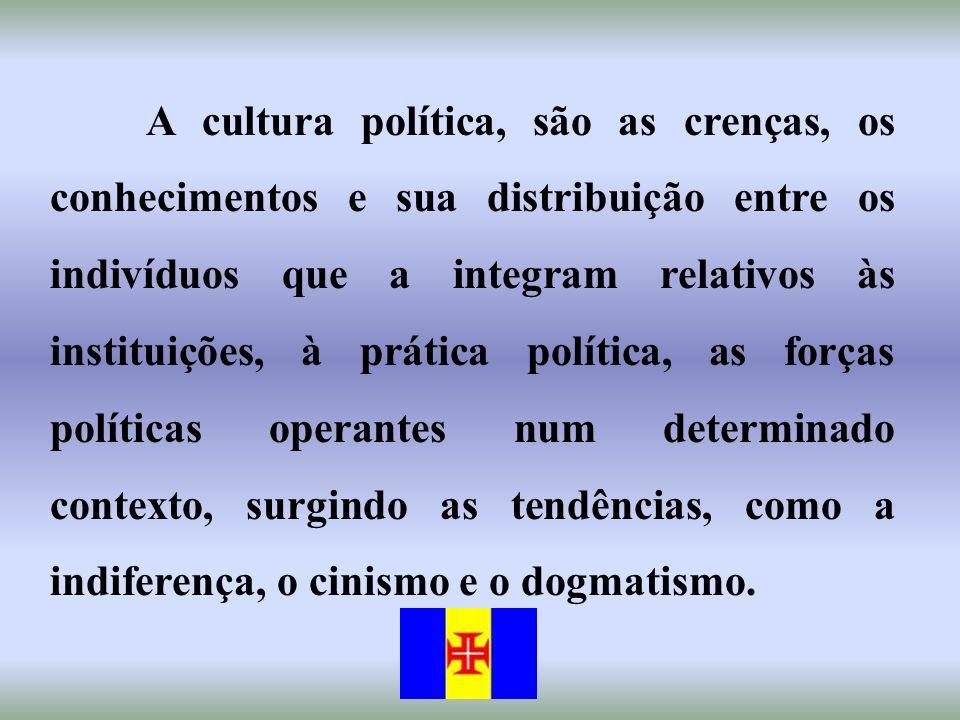 A cultura política, são as crenças, os conhecimentos e sua distribuição entre os indivíduos que a integram relativos às instituições, à prática políti