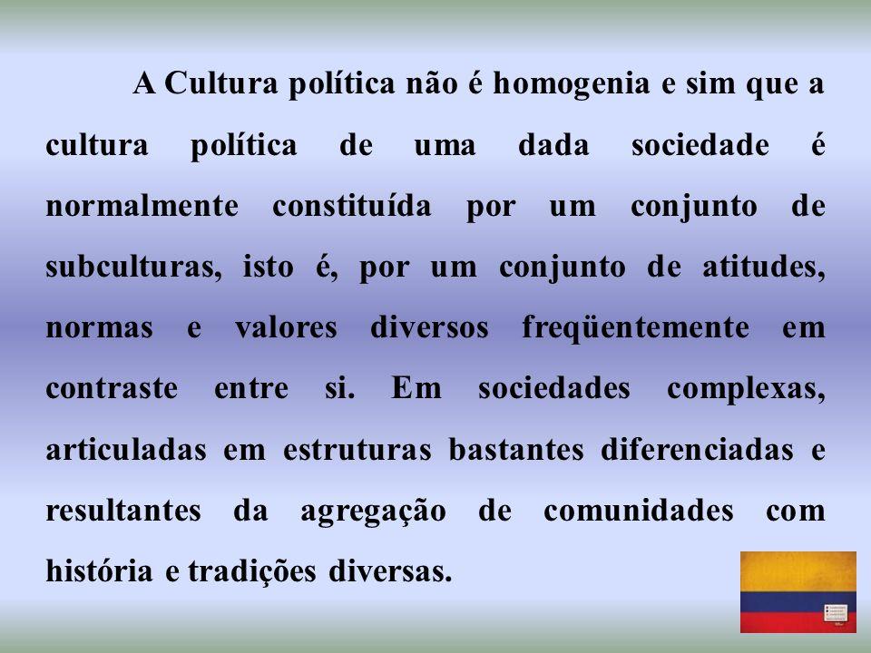 A Cultura política não é homogenia e sim que a cultura política de uma dada sociedade é normalmente constituída por um conjunto de subculturas, isto é