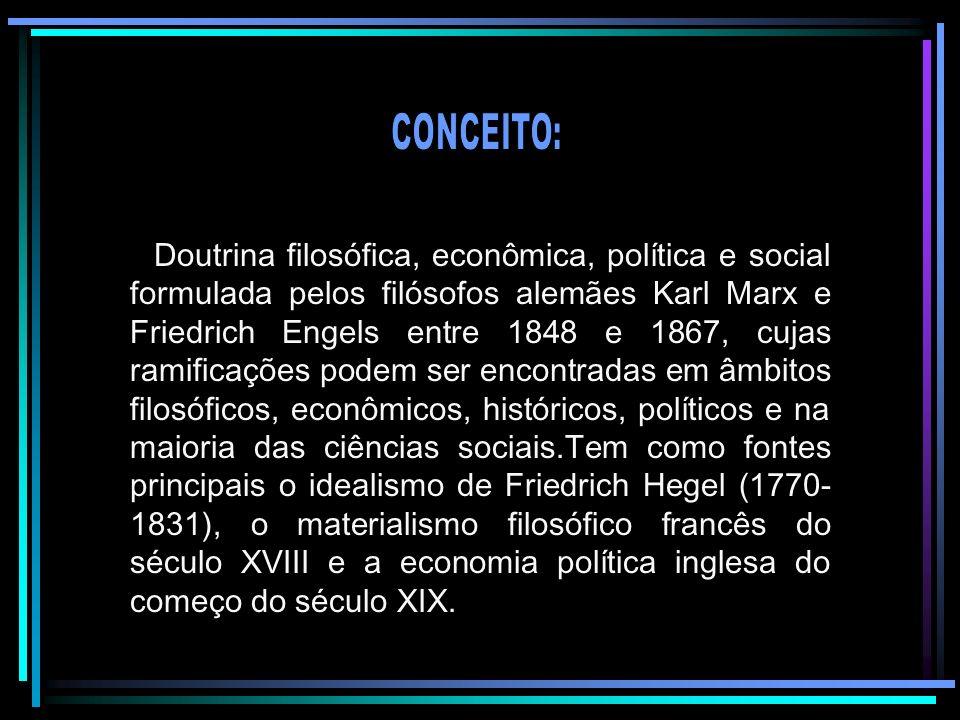 Doutrina filosófica, econômica, política e social formulada pelos filósofos alemães Karl Marx e Friedrich Engels entre 1848 e 1867, cujas ramificações
