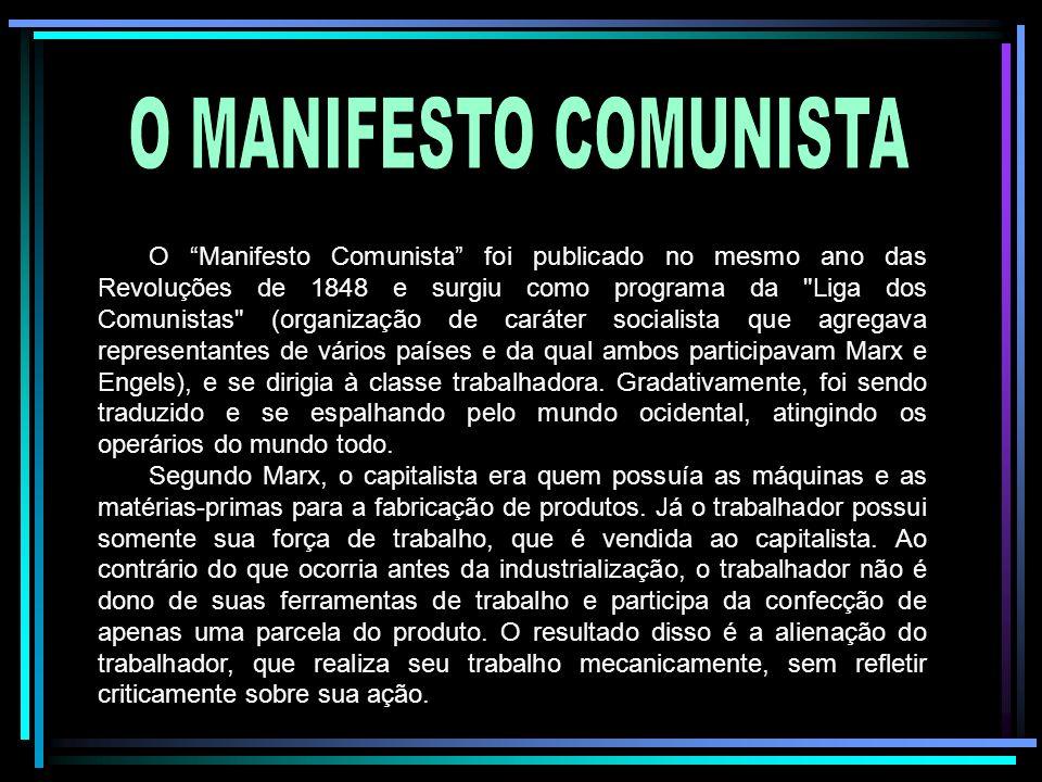 O Manifesto Comunista foi publicado no mesmo ano das Revoluções de 1848 e surgiu como programa da