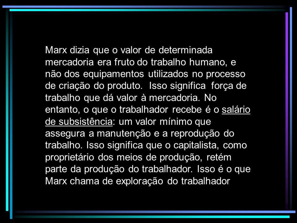 Marx dizia que o valor de determinada mercadoria era fruto do trabalho humano, e não dos equipamentos utilizados no processo de criação do produto. Is