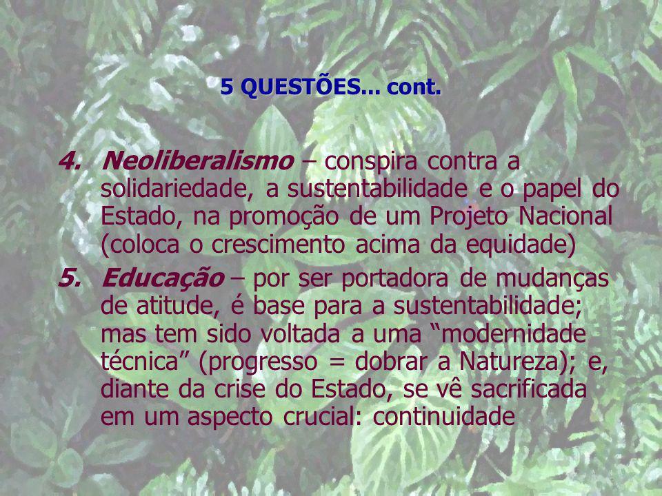 5 QUESTÕES... cont. 4.Neoliberalismo – conspira contra a solidariedade, a sustentabilidade e o papel do Estado, na promoção de um Projeto Nacional (co