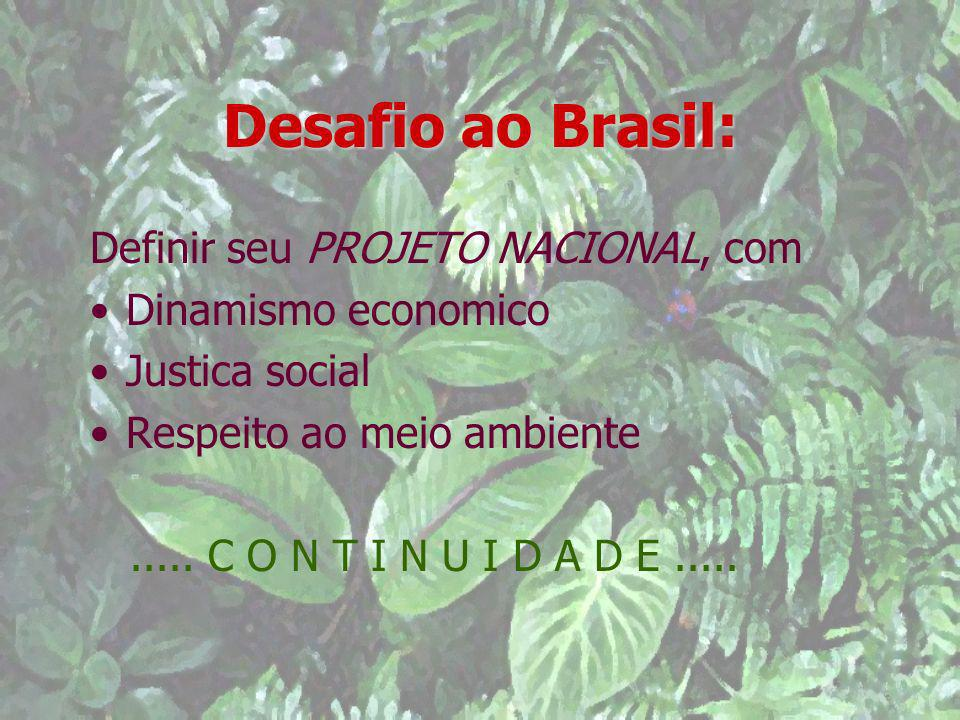 Desafio ao Brasil: Definir seu PROJETO NACIONAL, com Dinamismo economico Justica social Respeito ao meio ambiente..... C O N T I N U I D A D E.....