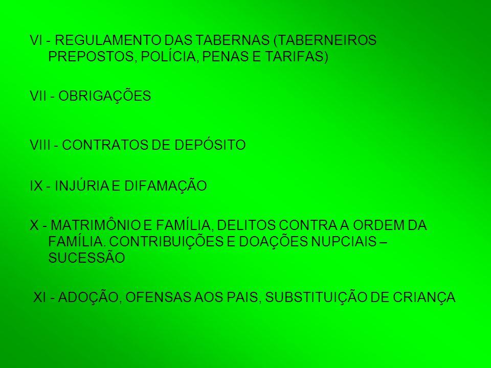 VI - REGULAMENTO DAS TABERNAS (TABERNEIROS PREPOSTOS, POLÍCIA, PENAS E TARIFAS) VII - OBRIGAÇÕES VIII - CONTRATOS DE DEPÓSITO IX - INJÚRIA E DIFAMAÇÃO X - MATRIMÔNIO E FAMÍLIA, DELITOS CONTRA A ORDEM DA FAMÍLIA.
